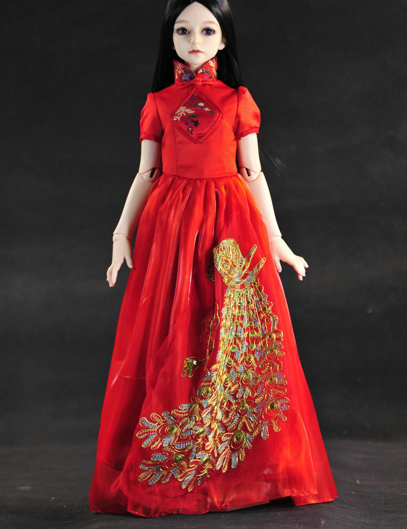 New Handmade Doll <font><b>Clothes</b></font> Golden Peacock Red Chinese-style Dress for <font><b>SD</b></font> <font><b>BJD</b></font> <font><b>1/3</b></font> Doll Dress Girls <font><b>Clothes</b></font> Toys Doll Accessories image