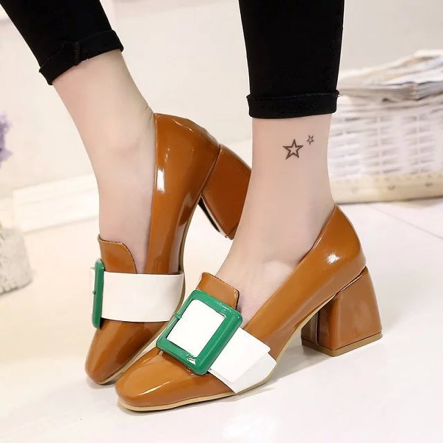 Women Pumps 2017 New Vintage Mary Jane Patch Square Toed Tacones Buckle Mixcolor Ladies Shoes Womans High Heels 4 Colors