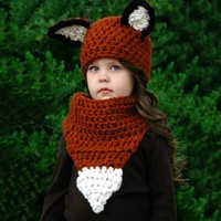 Winter Keep Warm Baby Hat Cotton Cap Toddler Infant New Baby Brown Squirrel Hand Hat Scarf