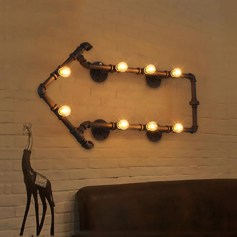 Industrial retro loft iron water pipe light decorative coffee shop bar study restaurant cafe wall lamp bra vintage wall sconce цена