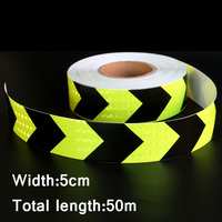 50mx5cm Yellow&Black Arrow Reflective Strips Glue Stickers For Car Styling Motorcycle Automobiles Decoration Safety Warning Tape