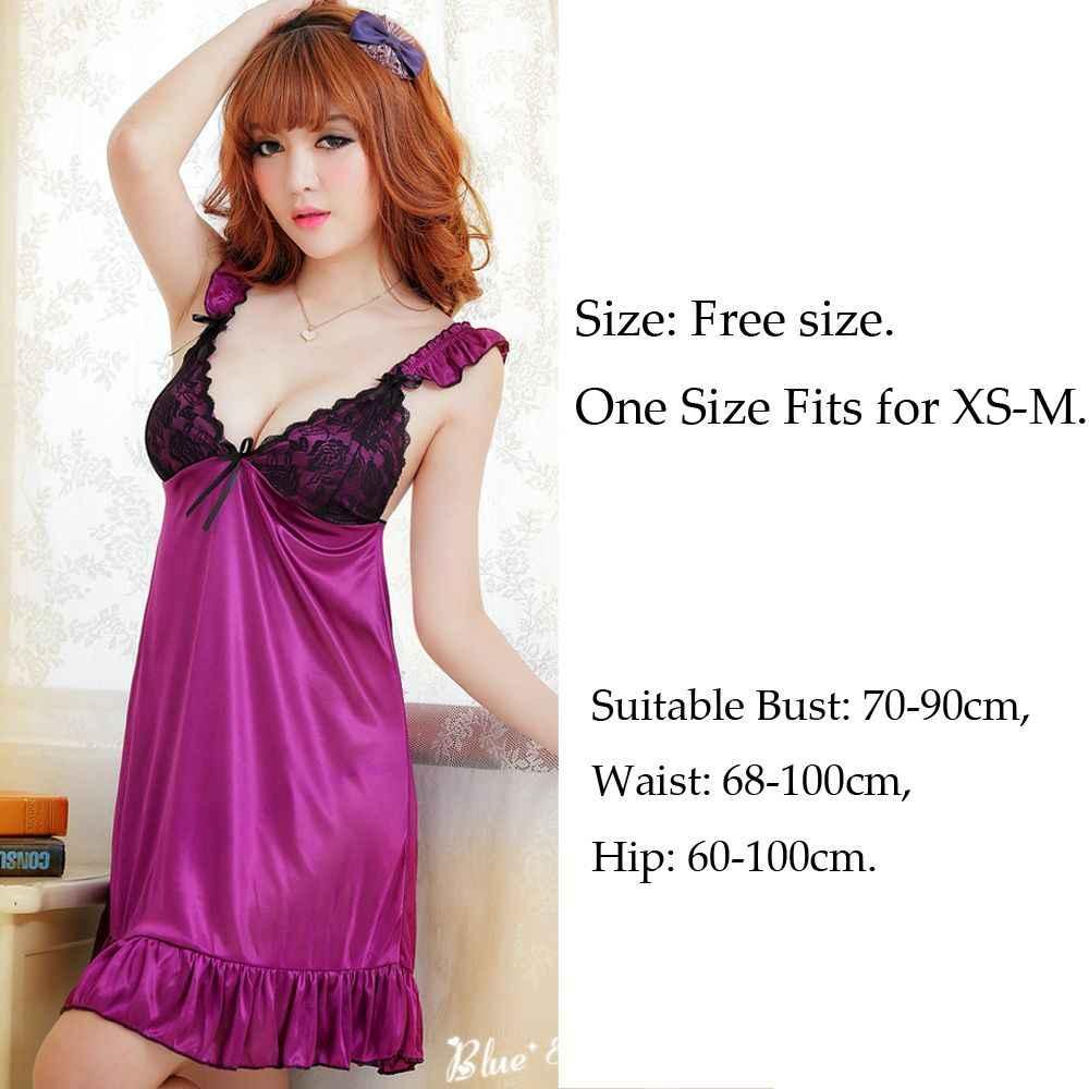 e5eb8e3f2cfce ... 1 Set Fashion Sexy Women Lingerie Nightwear Purple Underwear Sleepwear  Lace Baby Doll Dress + G