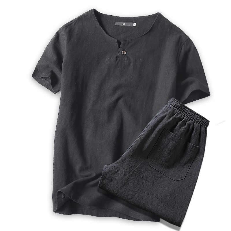 2019 夏の Tシャツスーツ黒 Tシャツ + ショーツリネン中国スタイルの夏のブランドセット男性通気性カジュアルなビーチセット m-4xl 5XL