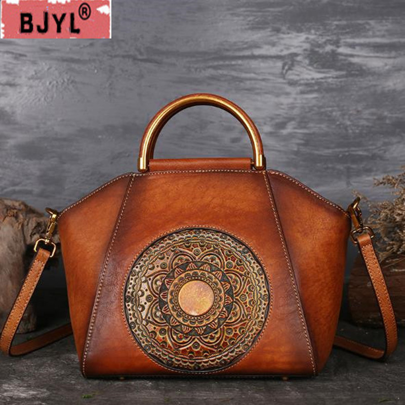 BJYL Genuine Leather Women Handbags Totem embossed hand-painted  female shoulder high-grade retro color handmade messenger bagBJYL Genuine Leather Women Handbags Totem embossed hand-painted  female shoulder high-grade retro color handmade messenger bag