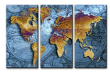 3 Panel Vintage World Map Canvas Painting Oil Painting Print On Canvas Home Decor Wall Art Wall Picture For Living Room