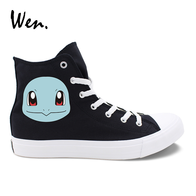 Wen Design Black Canvas Skateboard Shoes Anime Pokemon Squirtle High Top White font b Sneakers b