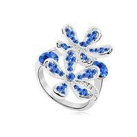 Темно-Синий Австрия Кристалл кольцо, цветок кольца старинные ювелирные изделия леди жена подарки на день Святого Валентина подруга кольца ...