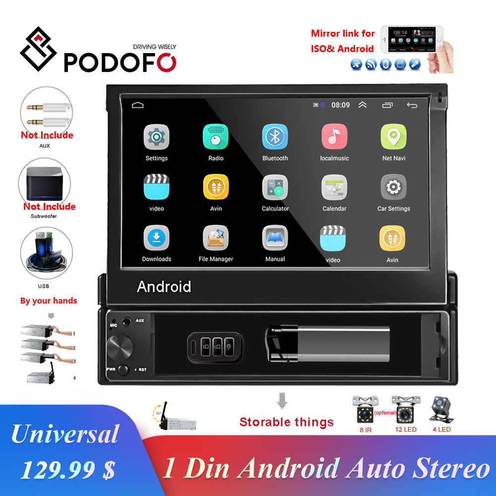 Podofo 1 din Android 8.1 GO Quad-Core Car DVD GPS Navigation Player 7'' Universal Car Radio WiFi Bluetooth MP5 Multimedia Player