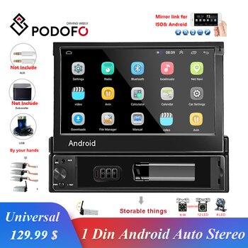 "Podofo 1din Android Quad-Core Radio GPS de coche reproductor de navegador 7 ""Universal Radio de Audio WiFi Bluetooth MP5 reproductor Multimedia"