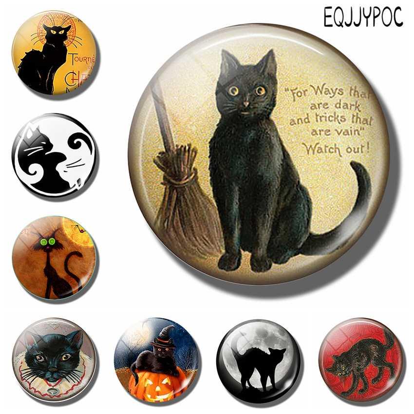 Amantes de los gatos 30MM imán de nevera gato negro con escoba bruja cita en cristal cabujón adhesivo magnético para nevera nota titular Decoración