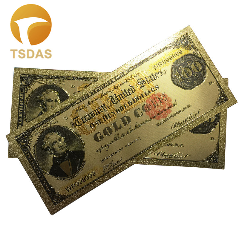1882 YRS Colorful USA Banknotes 100 Dollar Banknotes Gold Plated Beautiful Decor And Collection Bank Notes