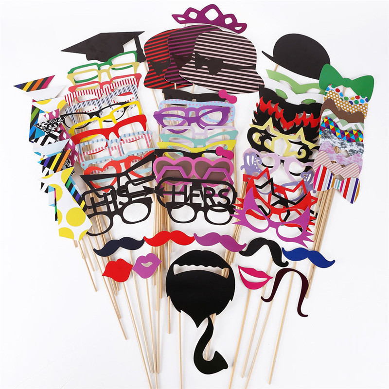 76pcs DIY Photo Booth Props wedding Moustaches/Glasses/Bowtie/Hat style Wedding Party Night Games Take Photo booth background