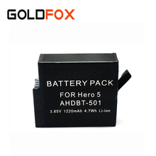 1220 мАч Батарея для Go Pro Hero Спорт Камера AHDBT-501 для GoPro Hero 5 BT-501 действие Камера Замена Перезаряжаемые Батарея
