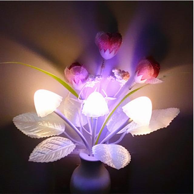 2pcs Cute Light Sensing Nightlight Colorful Tulip Rose Orchid