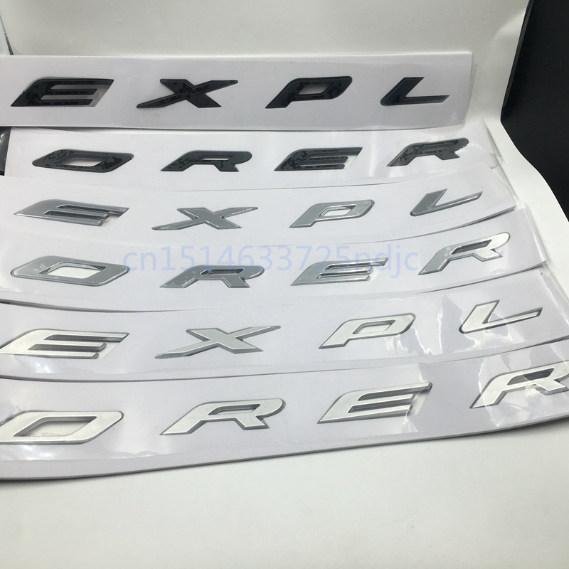 3D EXPLORER Letters Hood Emblem Silver Chrome Black Logo Sticker For 2011 2012 2013 2014 2015 2016 Ford Explorer Sport