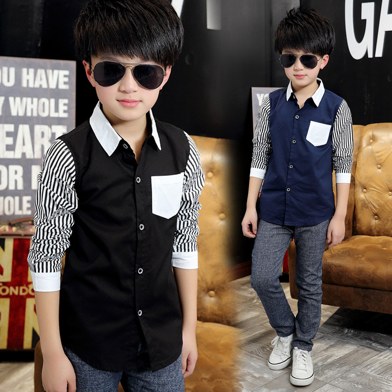 388e40f3 Aliexpress.com : Buy Shirts For Boys Brand New 2018 Autumn Children Casual Long  Sleeve For School Kids Boy Striped Shirt Gentleman Boys Shirts from  Reliable ...