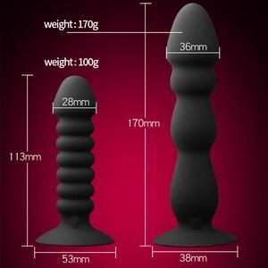 Анальная пробка дилдо с бусинами вибратор с присоской Анальная пробка Мужская простата массажер со стимуляцией клитора унисекс Секс игрушки для женщин