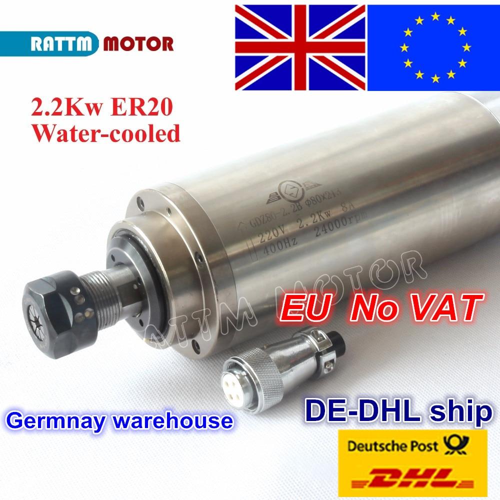 EU free VAT 2.2KW WATER-COOLED CNC MOTOR SPINDLE MOTOR ER20 220V 24000rpm for CNC ROUTER ENGRAVING MILLING GRINDING 80x213mm