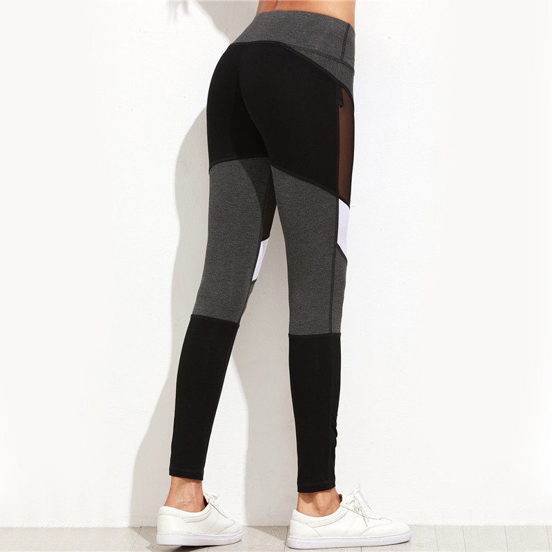 Kvinnor Fitness Leggings Svart Casual Leggins Workout Byxor Mesh - Damkläder - Foto 4