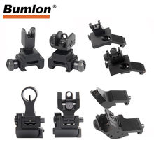 Tactische AR15 Ar 15 AR-15 Vouwen Flip Up Front Rear Sight Offset Snelle Overgang Backup Iron Sight Dual L Gericht openingen(China)