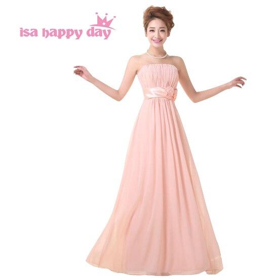 e776e3412352 Sexy senza bretelle una linea elegante di colore rosa in chiffon modest  senza maniche lungo da promenade del vestito delle ragazze vestiti per il  partito di ...