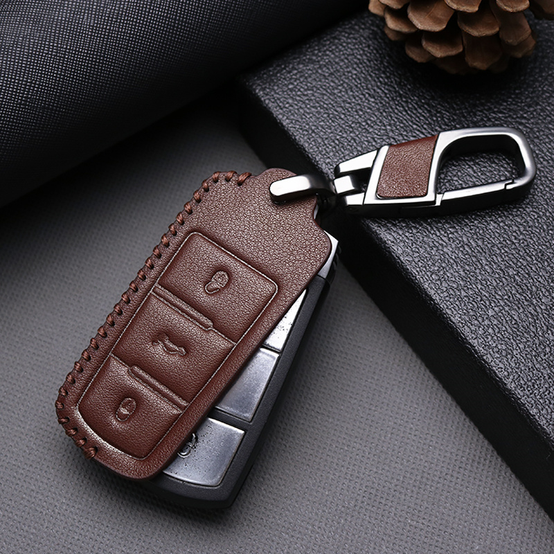 Genuine Leather Car Key Case Cover For Volkswagen VW Golf 4 5 6 7 Mk7 Passat B5 B6 B8 B7 Polo Sharan Beetle Jetta Key ring Case