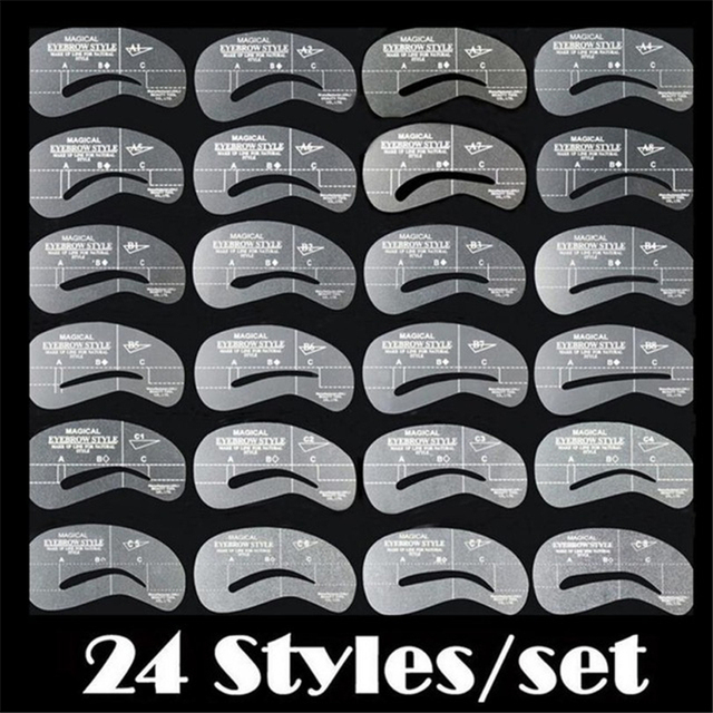 USPS 24 Styles Top Quality Practical Eyebrow Shaping Stencils Grooming Kit Makeup Shaper Set Template Tool Drop Shipping