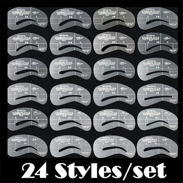 USPS 24 estilos de alta calidad práctica ceja modeladora Kit de aseo Kit de maquillaje Shaper Set plantilla herramienta Envío Directo