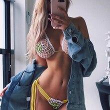 New Bohemian Sexy Design Women Beading 2 Piece Set XL Mesh Beach Outwear Suit Bandage Bodycon 2019