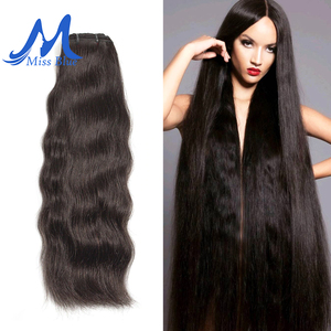 Image 2 - Missblue 生インドのバージンヘアバンドルグレード 10A インディアンナチュラルストレート人間の毛髪織り延長 1 3 4 10p/送料無料