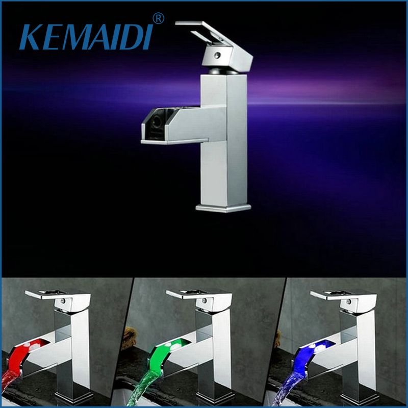 KEMAIDI Bathroom Basin Led Faucet Water Power Basin LED Mixer Chrome Plated 3 Colors FaucetsMixers & Taps JN6105 диски helo he844 chrome plated r20