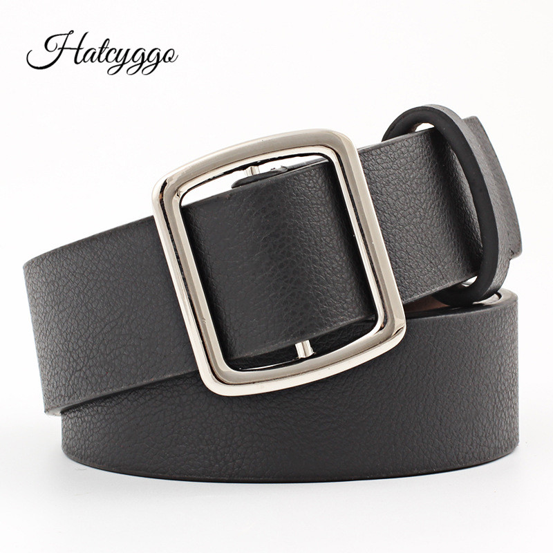 HATCYGGO Waist Belt PU Leather/Black Belts For Women Novel Pinless Metal Buckle Leather Female Fashion 2018