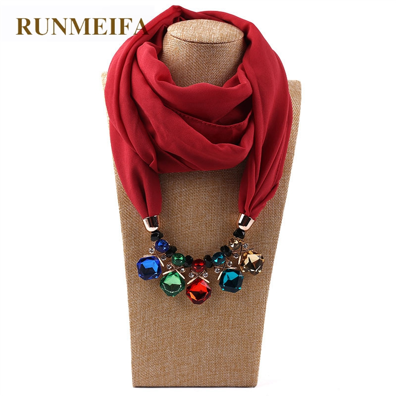Runmeifa new pendant scarf necklace crystal necklaces for women runmeifa new pendant scarf necklace crystal necklaces for women chiffon scarves pendant jewelry wrap foulard female accessories in scarves from womens aloadofball Images
