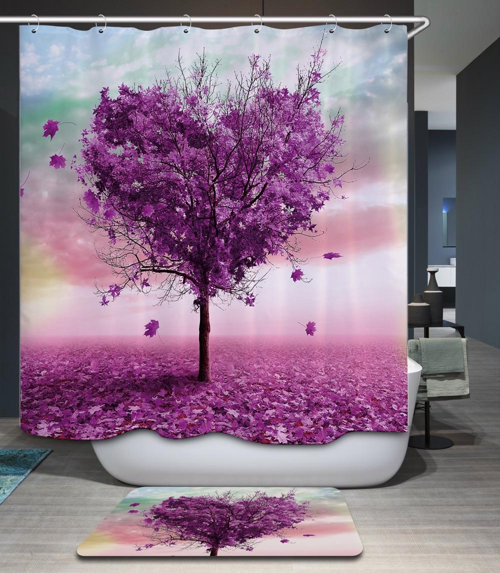Romantic shower curtain - Comwarm Romantic Forest Scenery Polyester Waterproof Shower Curtain 12pc Hooks Mildew Resistant Bath Curtain Cozy Bathroom
