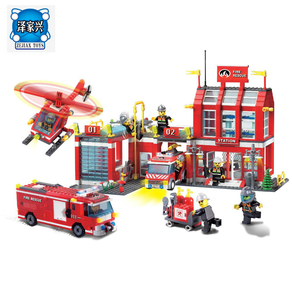 Enlighten Building Block Fire Rescue Fire Headquarter 8 Firemen 970pcs Bricks Figures Toys Compatible Lepins