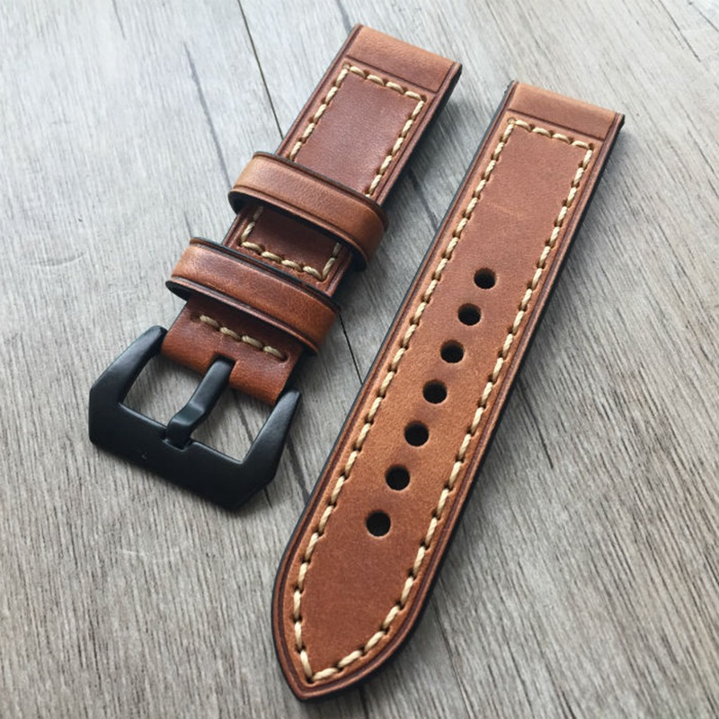 все цены на URVOI band for apple watch series1 2 strap for iwatch belt for Panerai style high quality handmade Retro Leather band 38mm 42mm онлайн