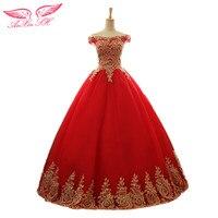 SH AnXin Księżniczka red lace złoty złote koronki kwiat suknia wieczorowa czerwona suknia wieczorowa złoty wzór kwiat czerwony strój wieczorowy