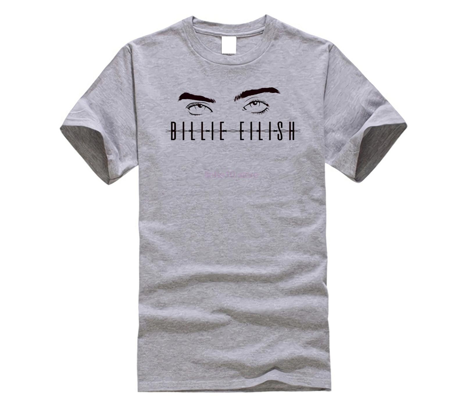 9927a1ba4ee7a LettBao Billie Eilish Fan Eye Футболка подарки Мода 100% хлопок хорошее  качество брендовая хлопковая рубашка Уличная Стиль крутые рубашки