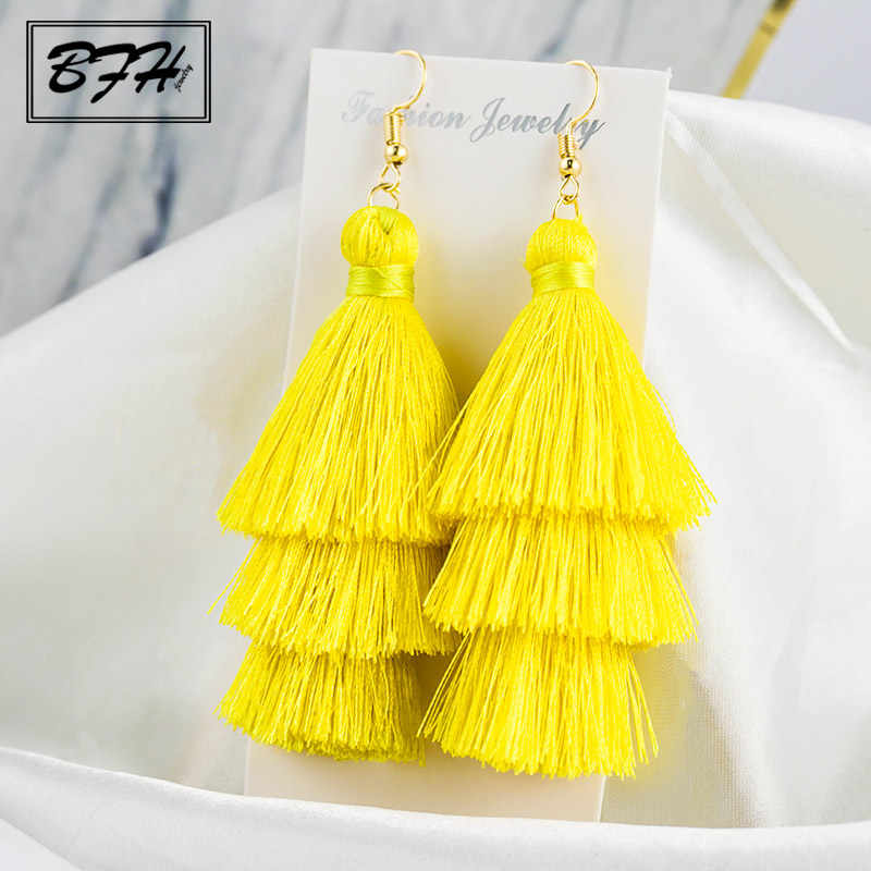 BFH Fashion 3 Layered Long Tassel Drop Earrings for Women Female Bohemian Pendant Fringe Stratified Woman Earring Gift Jewelry