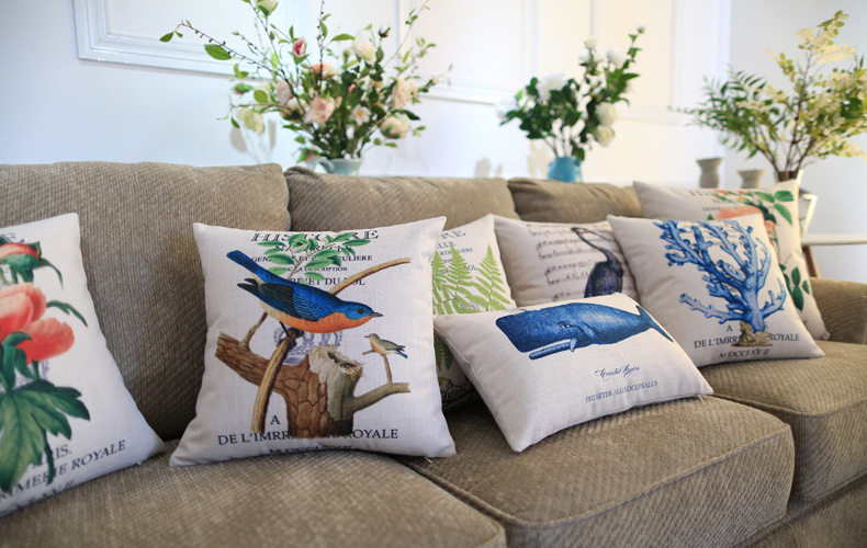 Custom Decorative Pillow Covers : 9 styles Flower Birds Custom Cushions Covers Coral Whale Throw Pillows Cases Sofa Decorative ...
