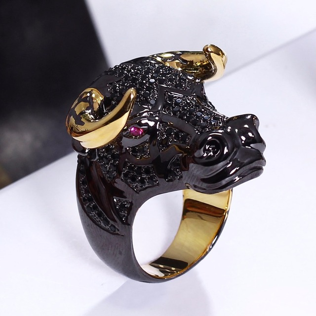 Head Cow Design New Animal Ring Black And Gold Color Trendy Jewelry For
