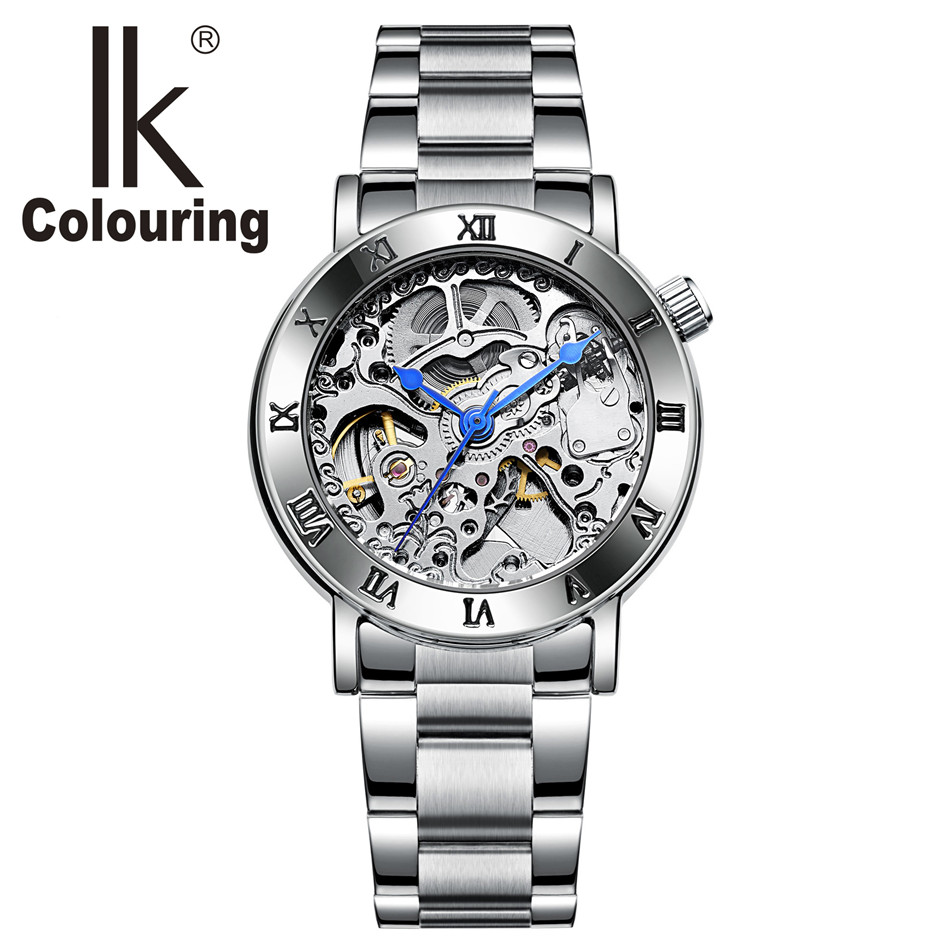 IK Wristwatches Steampunk Womens Gears Carving Skeleton Watches Auto Mechanical Watch with Orignial Box Free Ship