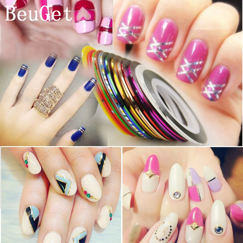 New style 10 Colors Rolls Striping Tape Line Nail Art Sticker Tools ...