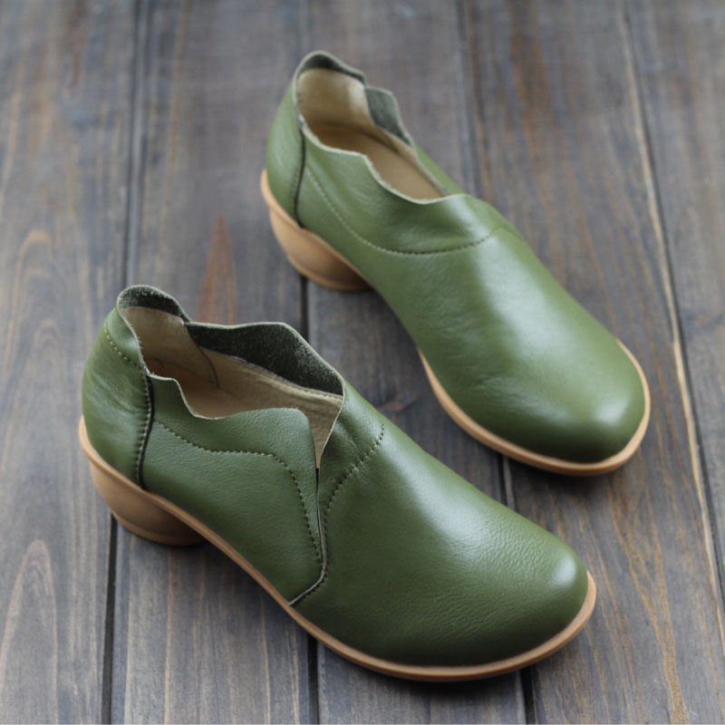 Women Pumps 4cm High Heel Shoes 100% Authentic Leather Plain Toe Slip on Ladies Shoes Female Spring/Authem Footwear (H258) nayiduyun women genuine leather wedge high heel pumps platform creepers round toe slip on casual shoes boots wedge sneakers