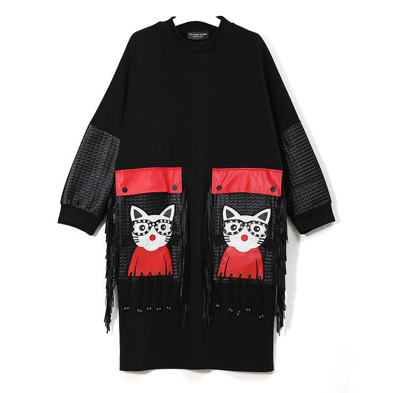 Novo 2019 mulheres outono inverno preto midi vestido plus size manga longa dos desenhos animados plutônio grande bolso & franja senhoras bonito vestido robe 3084