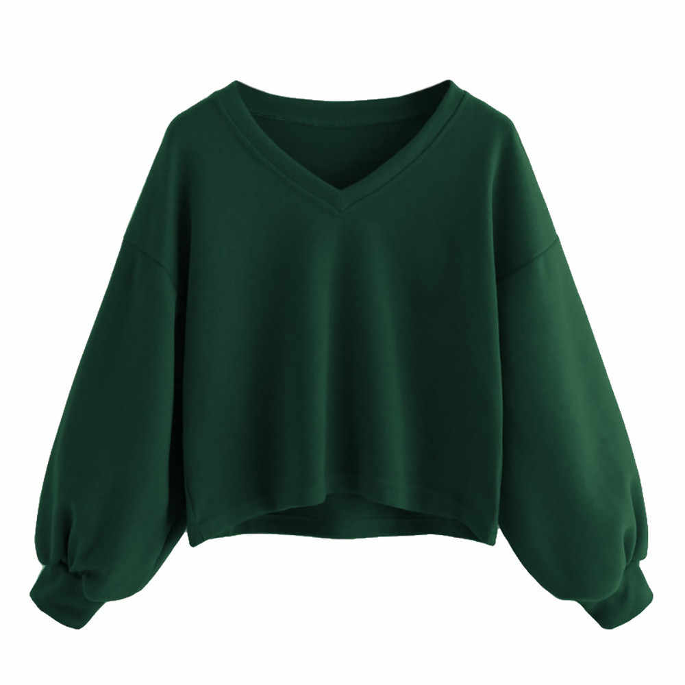 Solid Color Cropped Hoodie Women Fashion Drop Shoulder Lantern Sleeve Sweatshirt V-neck Casual Pullover Tracksuit  #10