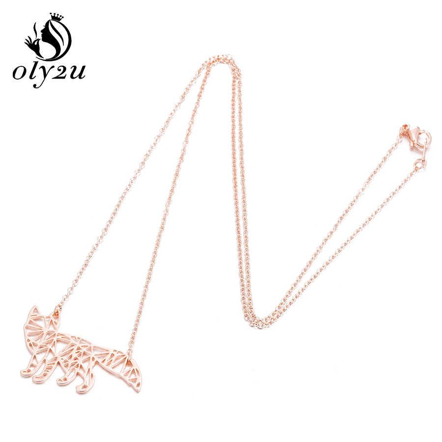 Oly2u Hewan Fox Origami Kalung untuk Wanita Kalung Stainless Steel Liontin Kalung Panjang Rantai Kalung Bijoux