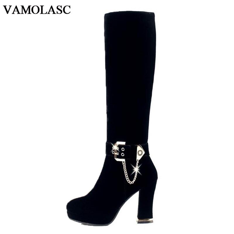 VAMOLASC New Women Warm Autumn Winter Faux Suede Knee High Knight Boots Sexy Zipper Square High Heel Boots Platform Women Shoes цены онлайн