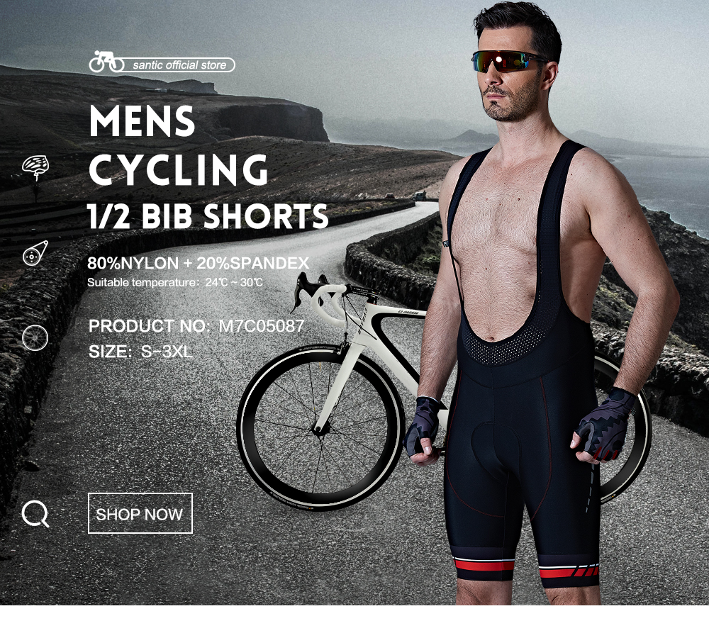 Prix pour Santic Hommes Cyclisme Rembourré Cuissard Pro Fit Respirant Italien MITI TAVALOR Tissu Réfléchissant Cyclisme Vêtements D'été M7C05087