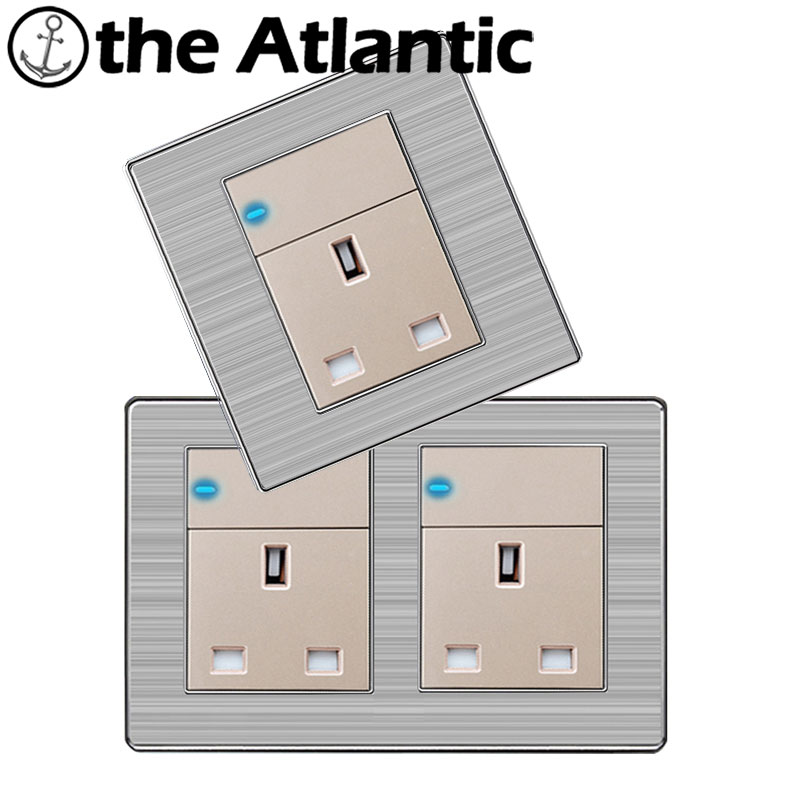 Atlantic Double 13A UK Standard Outlet with 1Gang 1 Way Wall Power Socket Enchufe Stainless Steel Panel Electrical Plug 146*86mm 146 double 13a uk switched socket wallpad crystal glass panel 110v 250v 146 86mm uk standard wall socket plug power outlet
